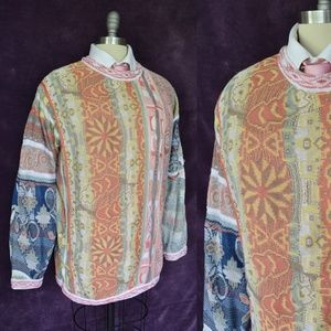 Rare COOGI Vintage Pastel Coral Peach 3D Sweater